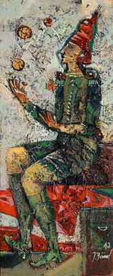 Der Jongleur, 2017, Mischtechnik auf Holz, 40 x 16 cm