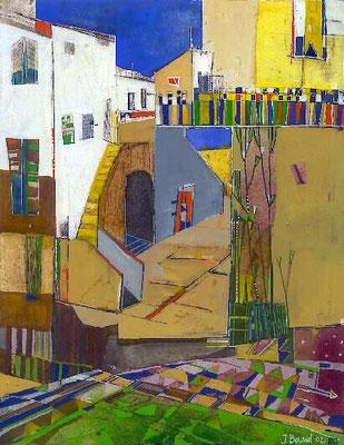 Südlicher Markt, Radierung, koloriert, 27 x 21 cm