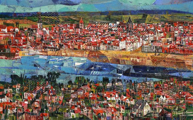 Rostock, Hafenansicht, 2016, Mischtechnik auf Leinwand, 50 x 100 cm