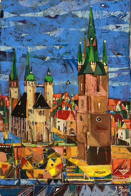 Marktplatz, Radierung, koloriert, 30 x 20 cm