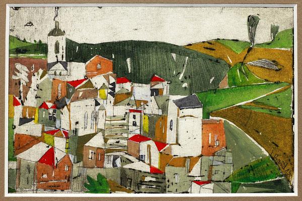 Vicari, Radierung, koloriert, 10 x 15 cm
