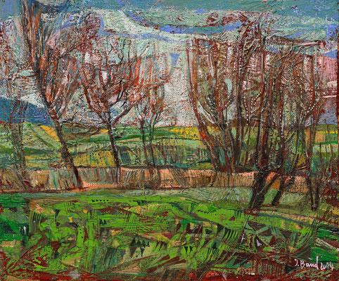 Bäume am Feldrand, 2014, Mischtechnik auf Hartfaser, 25 x 30 cm