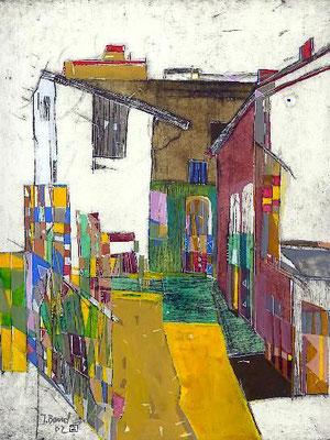 Der Hof, Radierung, koloriert, 29 x 24 cm