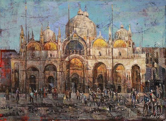 Markusplatz in Venedig, 2014, Mischtechnik auf Leinwand, 65 x 89 cm