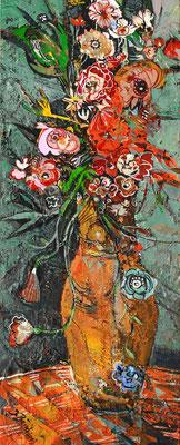 Blumen in schlanker Vase, 2013, Mischtechnik auf Holz, 40 x 16 cm
