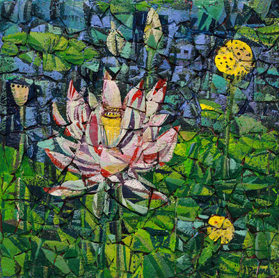 Lotus, 2016, Mischtechnik auf Hartfaser, Straußeneierschale, Acryl, 25 x 25 cm