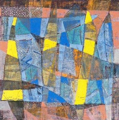 Portugiesische Galeeren, 2009, Mischtechnik auf Leinwand, 50 x 50 cm