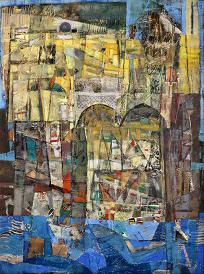 Reise ins Gelobte Land, 2005, Mischtechnik auf Leinwand, 100 x 70 cm