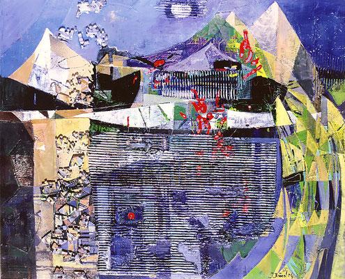 Im Reich des Kondors, 2004, Mischtechnik auf Leinwand, 80 x 100 cm