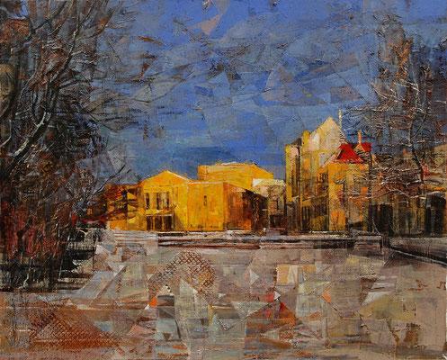 Opernhaus im Winter, 2011, Mischtechnik auf Leinwand, 90 x 110 cm