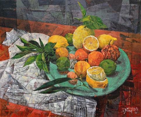 Stillleben mit Zitronen, 2013, Mischtechnik auf Leinwand, 50 x 60 cm