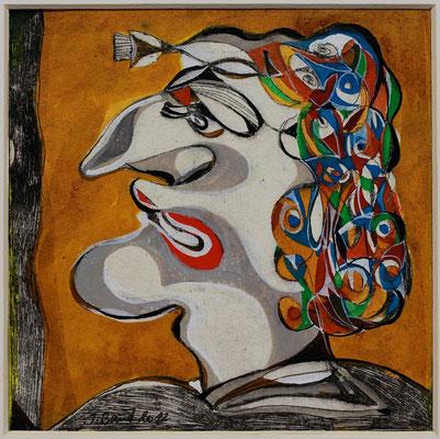 O.T., Radierung, koloriert, 12 x 12 cm