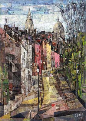 Montmartre, 2012, Mischtechnik auf Leinwand, plastische Elemente, 70 x 50 cm
