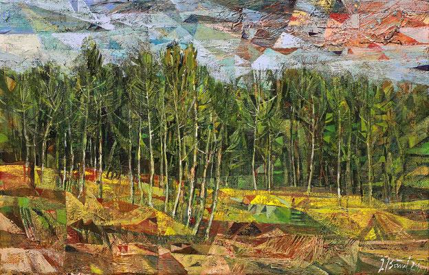 Am Waldesrand, 2021, Mischtechnik auf Leinwand, 27 x 40 cm