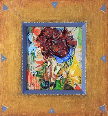 Die rote Blume, 2021, Mischtechnik auf Holz, Motiv: 14 x 12 cm Rahmen: 22 x 20 cm