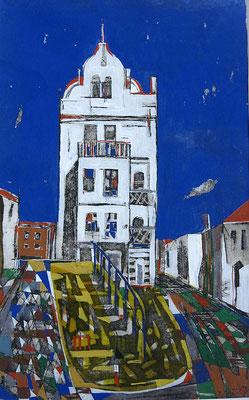 Weißes Haus, Radierung, koloriert, 40 x 25 cm