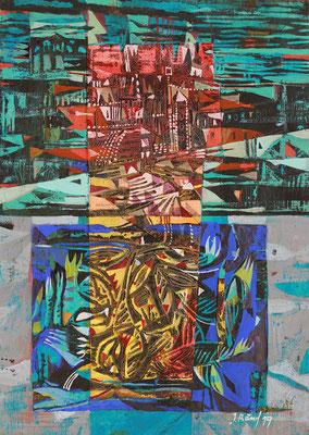 Kleine Stadt am Wasser, 2019, Mischtechnik auf Pappe, 30 x 21 cm