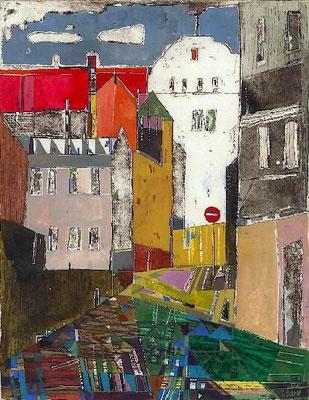 Am Sandberg, Radierung, koloriert, 27 x 21 cm