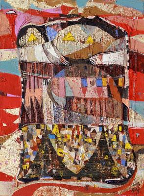 Ein Tag im Paradies, 2014, Mischtechnik auf Hartfaser, 39 x 29 cm