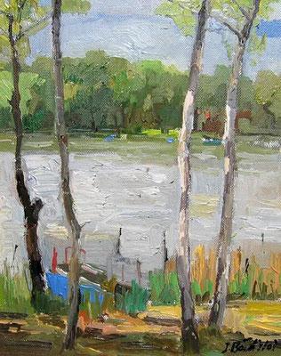 Am See, 2007, Öl auf Leinwand, 30 x 24 cm