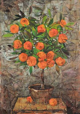 Orangenbaum, 2013, Mischtechnik auf Hartfaser, 70 x 50 cm