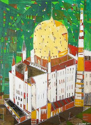 Tabakkontor, Radierung, koloriert, 24 x 18 cm