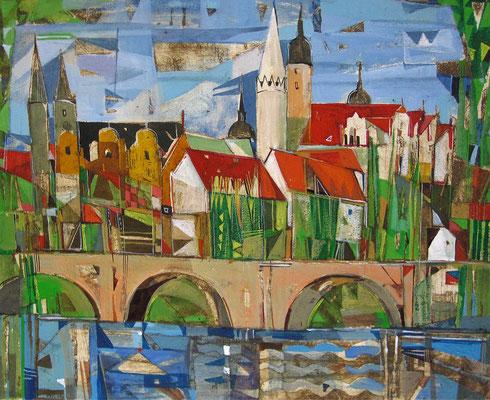 Merseburg, Radierung, koloriert, 20 x 25 cm