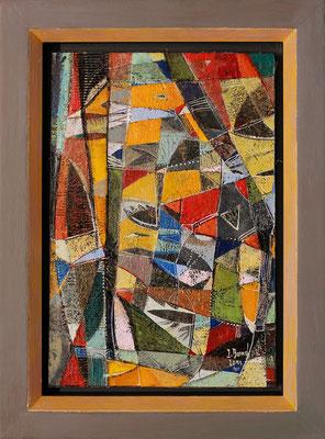 Sonnenwende, 2012, Mischtechnik auf Holz, Rahmen: 37 x 27 cm, Motiv: 30 x 20 cm