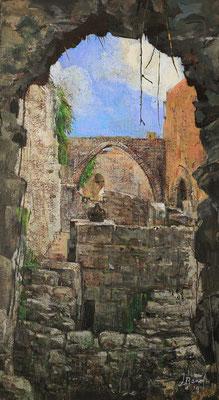 Burgromantik, 2021, Mischtechnik auf Hartfaser, 48 x 26 cm