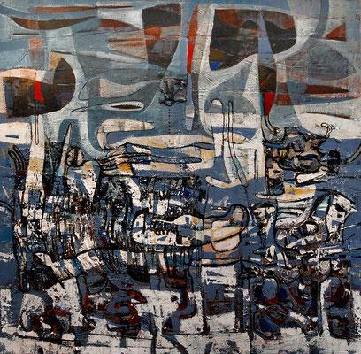 Schneeschmelze, 2011, Mischtechnik auf Leinwand, 100 x 100 cm