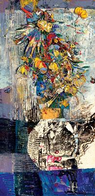 Strauß nach dem Regen, 2003, plastische Collage auf Hartfaser, 100 x 50 cm