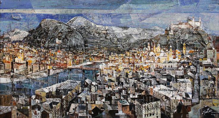 Salzburg, 2011, Plastische Arbeit, Mischtechnik auf Leinwand, 60 x 110 cm