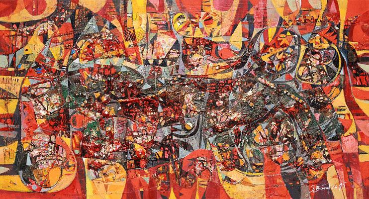 Schattenspiele, 2015, Mischtechnik auf Leinwand, 70 x 130 cm