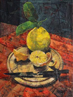Zitronen mit Messer, 2016, Mischtechnik auf Leinwand, 40 x 30 cm
