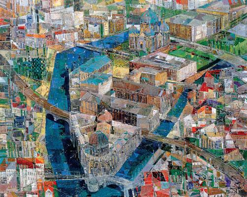 Berlin, Museumsinsel, 2003, Mischtechnik auf Leinwand, 80 x 100 cm
