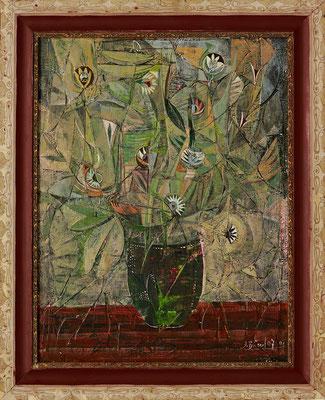 Zarter Strauß, 2007, Plastik, Acryl und Tempera auf Hartfaser, 50 x 40 cm