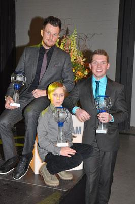 Die ADAC S-H Sportler des Jahres 2015: Motorradsportler Mike Stender, Jugendsportler Brian Lutterbey und Automobilsportler Niklas Meisenzahl © Bild: fotome.tv
