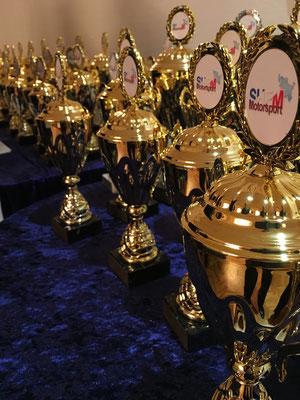 Die begehrten Pokale für die verdienten Landesmeister und Platzierten