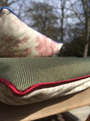 Outdoor Kissen grün karriert Vichykaro