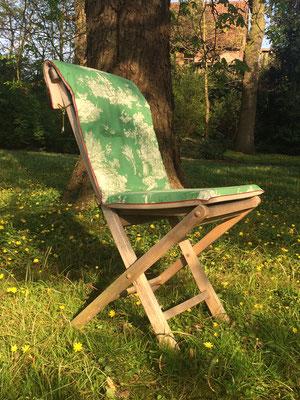 Gartenstuhlauflage Sitzkissen Toile de Jouy grün beige Hochlehner