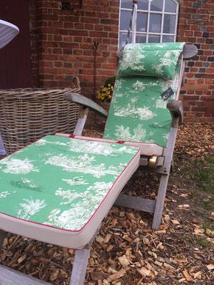 Deckchairauflage Sitzkissen Toile de Jouy grün beige Hingucker