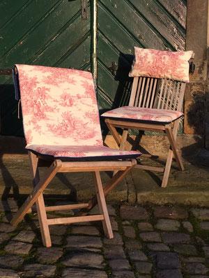 Gartenstuhlauflage Sitzkissen Toile de Jouy rot blau Hochlehner