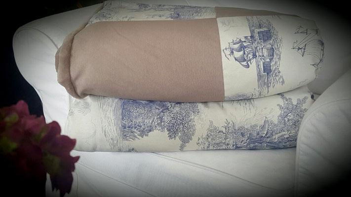 Sofadecken kuschelig Toile de Jouy Stoff Kuschelstoff