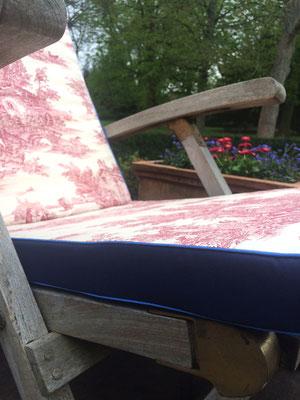 Deckchairauflage Sitzkissen Toile de Jouy rot blau Hingucker