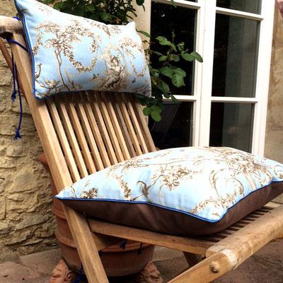 Gartenstuhlauflage Sitzkissen blau zweiteilig