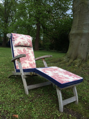 Deckchairauflage Sitzkissen Toile de Jouy blau rot Hingucker