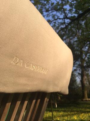 Gartenstuhlauflage Sitzkissen Toile de Jouy grün beige Hochlehner Stickerei