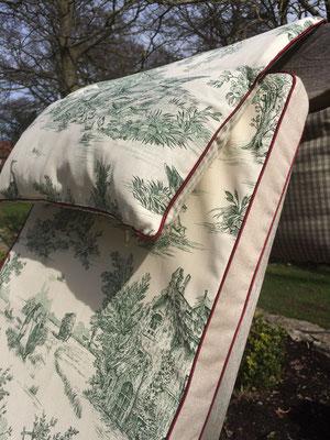 Kopfteil Deckchairauflage Toile de Jouy Stoff grün