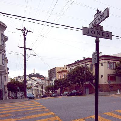 Blick von der Haustür auf die Jones Street. Viele der ehemaligen Straßenzüge sind kaum wiederzuerkennen.
