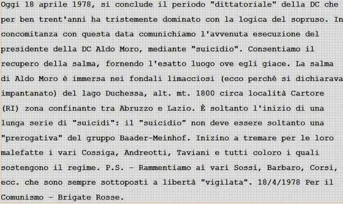 Comunicato num, 7 dove si annuncia il suicidio di Aldo Moro